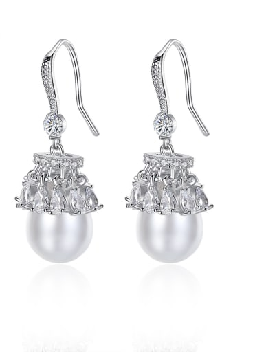 Copper With  artificial pearl Trendy Ball Drop Earrings