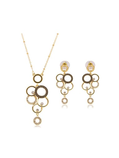 Alloy Imitation-gold Plated Fashion Hollow Circles Two Pieces Jewelry Set