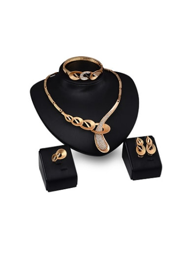 new 2018 2018 2018 2018 2018 2018 2018 Alloy Imitation-gold Plated Vintage style Rhinestones Four Pieces Jewelry Set