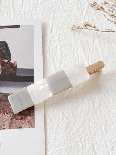 gray Alloy With Cellulose Acetate Fashion Geometric Barrettes & Clips