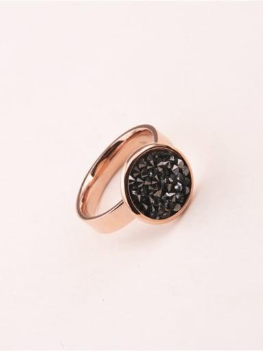 Black Stones Round Pattern Titanium Ring