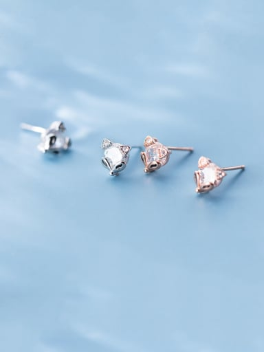 925 Sterling Silver With Rose Gold Plated Personality Animal Fox Stud Earrings