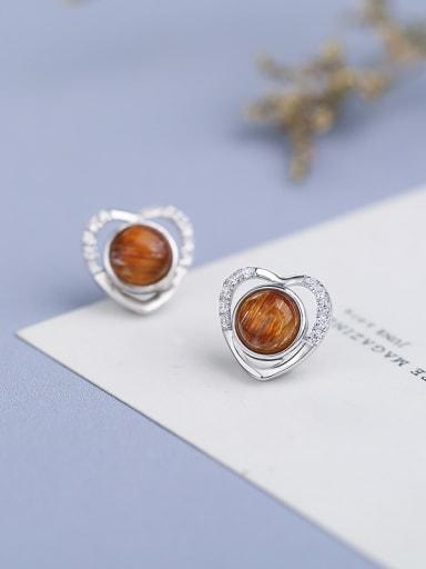 Fashion Hollow Heart Crystal Bead 925 Silver Stud Earrings