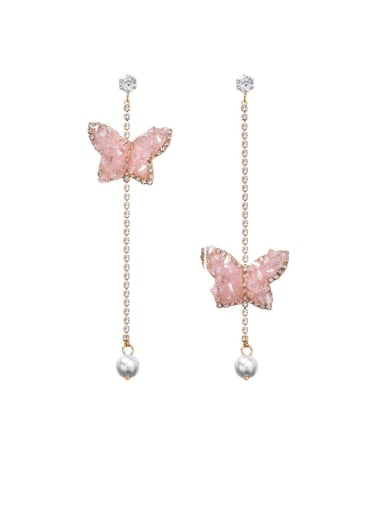 Alloy With Rose Gold Plated Simplistic Butterfly Tassel Earrings