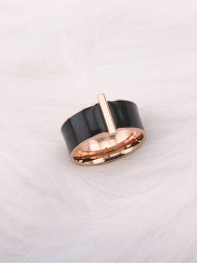 Geometric Black Ceramic Fashion Ring