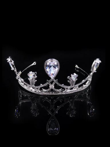 Crown-shape Water Drop Zircons Shining Hair Accessories