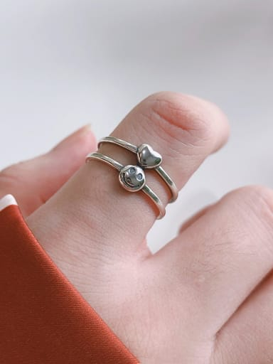 925 Sterling Silver With Platinum Plated Simplistic Love Smiley Face Stacking Rings