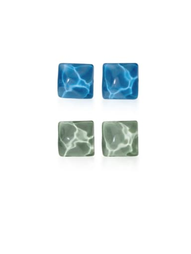 925 Sterling Silver With Platinum Plated Simplistic Square Stud Earrings