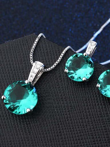 Copper With Glass stone Classic Round 2 Piece Jewelry Set