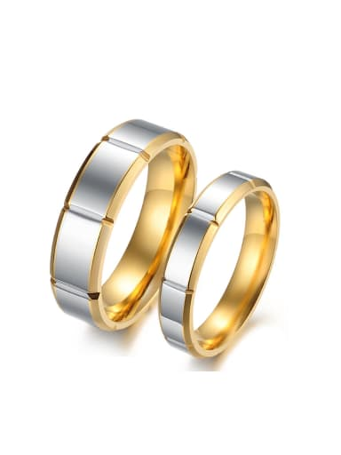 Simple Gold Plated Titanium Lovers Ring