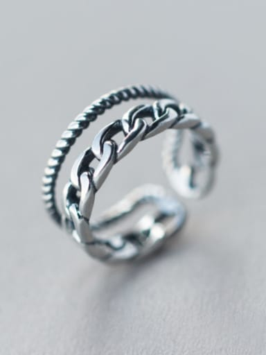 S925 Silver Retro Double LayerTwist Opening Stacking Ring