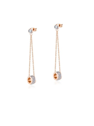 Stainless Steel With Rose Gold Plated Simplistic Round Threader Earrings