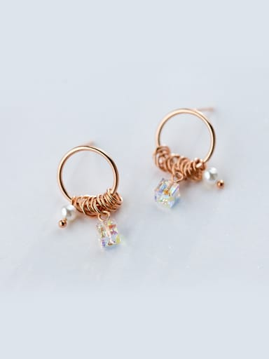 Exquisite Rose Gold Plated Square Shaped Zircon Stud Earrings