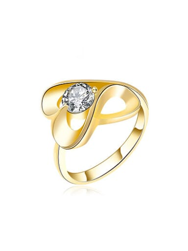 Elegant Gold Plated Figure Shaped Shaped Zircon Ring