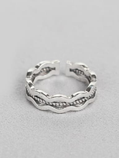 Retro Silver Wave Opening Ring