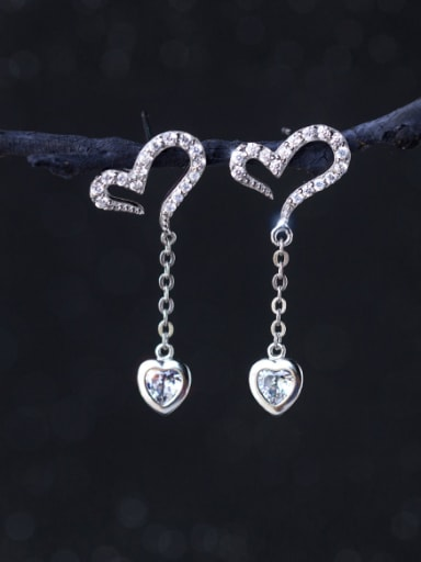 S925 silver sweet heart-shaped zircon drop earring