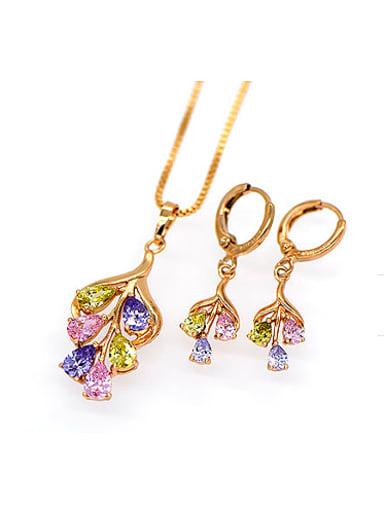 2018 18K Fashion Multicolor Zircon Two Pieces Jewelry Set