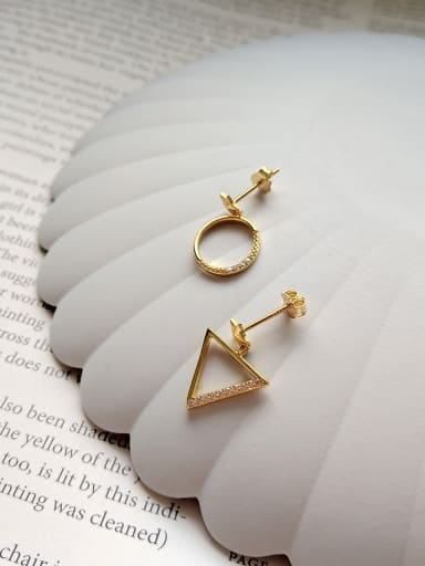 Sterling Silver geometric triangle asymmetrical gold ear studs