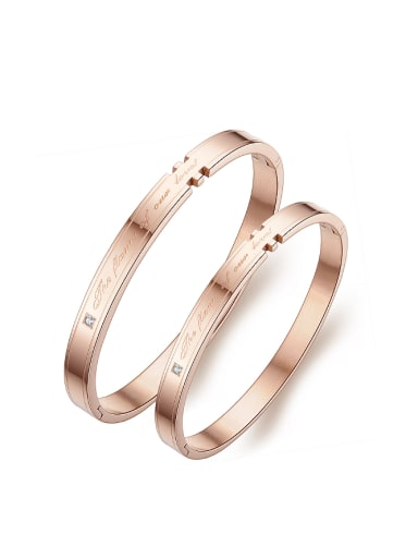 Fashion Rose Gold Plated Monogram-etched Titanium Lovers Bangle