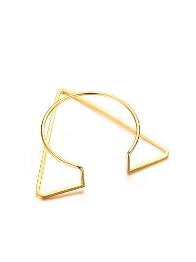 Exquisite Open Design Gold Plated Triangle Shaped Titanium Bangle