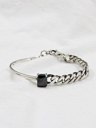 Sterling silver personality retro black-Carnelian chain  bracelet