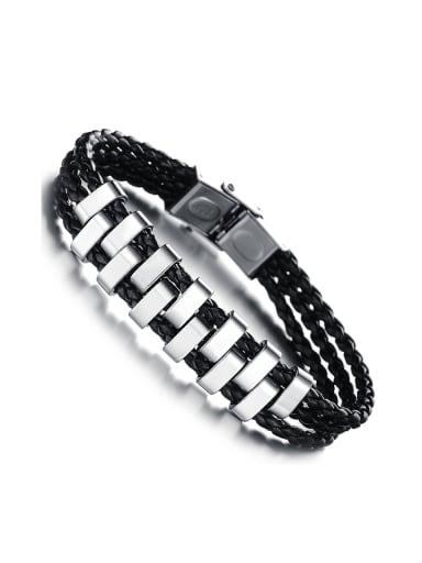 Fashion Three-band Woven PU Chain Titanium Men Bracelet