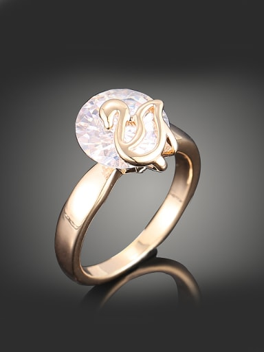 Simple Gold Plated Cubic Zircon Copper Ring