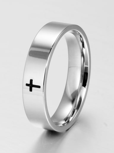 Stainless Steel With White Gold Plated Simplistic Cross Band Rings