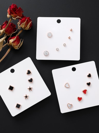 Stainless Steel With Rose Gold Plated Cute Heart Stud Earrings