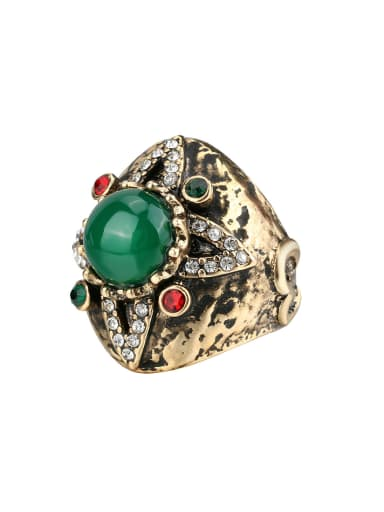 Retro Antique Gold Plated Green Resin stone White Crystals Ring
