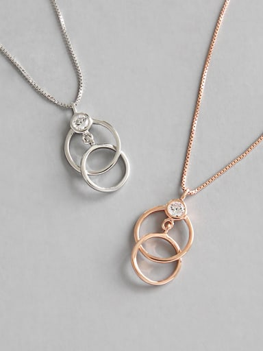 Sterling Silver Necklace circular AAA Zircon Necklace