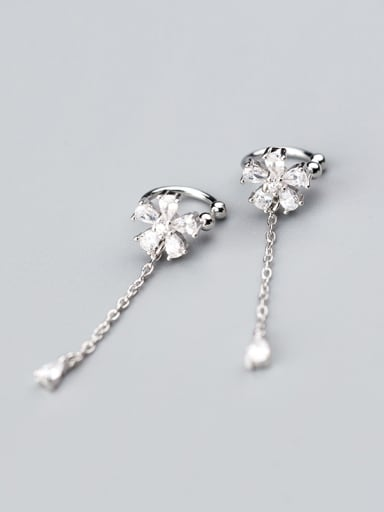 Fresh Flower Shaped Shining Rhinestones Clip On Earrings