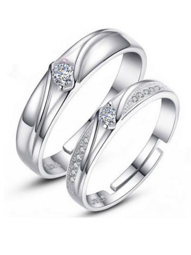 925 Sterling Silver With Cubic Zirconia  Simplistic Hearts and arrows loves  Free Size Rings