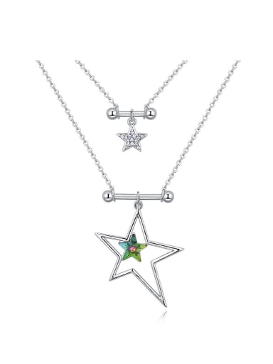 Double Layer Hollow Star Pendant Swarovski Crystals Alloy Necklace