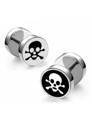 Stainless Steel With Trendy Skull Stud Earrings