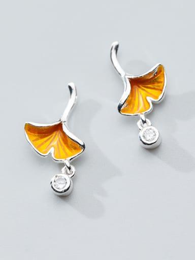 "Pure silver zircon golden yellow ""memory of autumn"" Ginkgo Leaf Earrings"