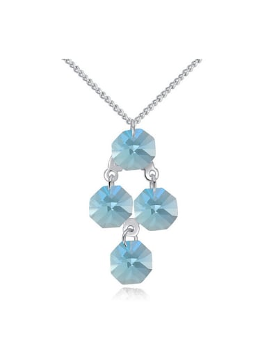 Simple Cubic Swarovski Crystals Pendant Alloy Necklace