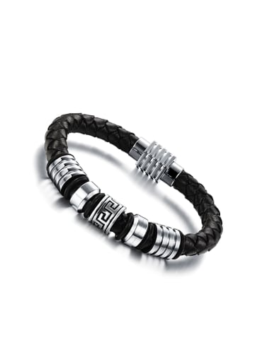 Personalized Woven Artificial Leather Men Bracelet