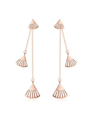 Vintage Shell Titanium Rose Gold  Fan Shaped Tassel drop earring