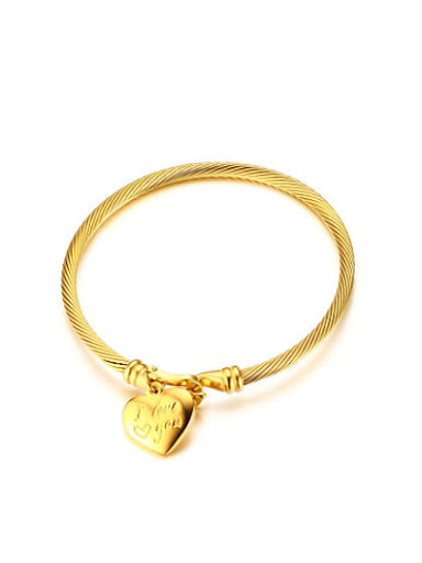 Exquisite Gold Plated Heart Shaped Titanium Bangle