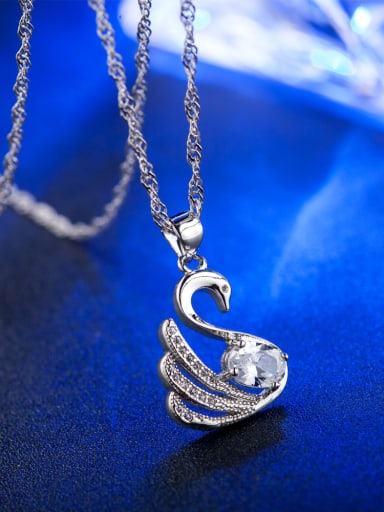 Fashion White Zircon Swan Pendant Copper Necklace