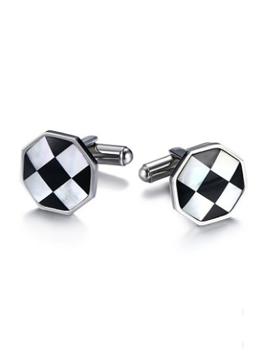Trendy Double Color Design Shell Titanium Cufflinks