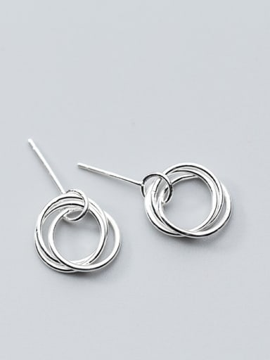 925 Sterling Silver With Platinum Plated Trendy Round Stud Earrings