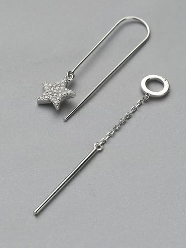 Simple Little Hollow Round Shiny Zirconias 925 Silver Line Earrings