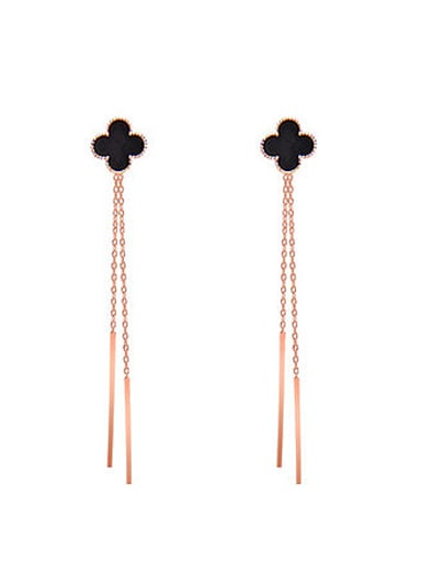 Sterling Silver Long Tassel  Clover threader earring