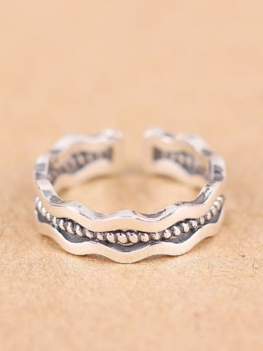 Punk Wave Silver Opening Ring