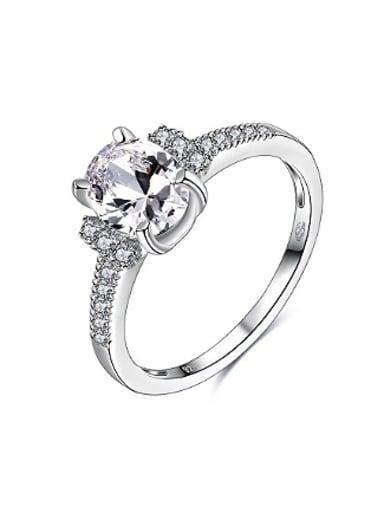 925 Silver Geometric Shaped Zircon Women Ring