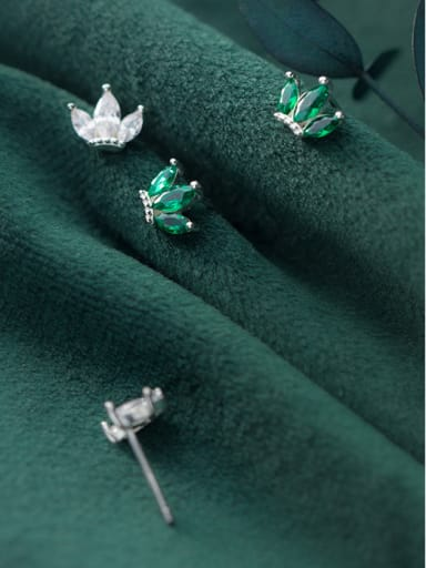 925 Sterling Silver With Silver Plated Simplistic Crown Stud Earrings