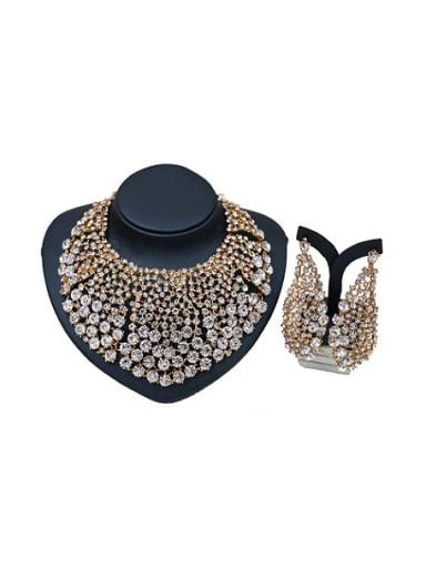 2018 2018 2018 2018 2018 2018 Cubic Glass Rhinestones Two Pieces Jewelry Set