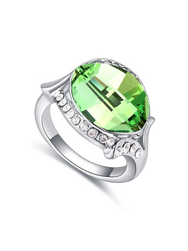 Exaggerated Oval Swarovski Crystal-accented Alloy Ring